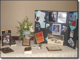 "Some of Gary's many awards and memorabilia. ""Crossing the Rubicon"" was placed on the table by Gary's ex wife Susan."